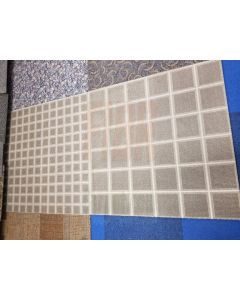 3'x3' Recycled Milliken Brown Tan Box Pattern Foam Backed Commercial Nylon Carpet Tiles 15000 sqft Available